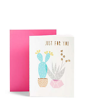 Cacti & Succulents Fold-Out Birthday Card