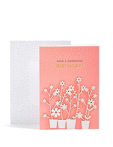Laser Cut Flower Pots Birthday Card