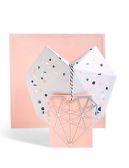 Pop-Up 3D Geometric Heart Keepsake Birthday Card