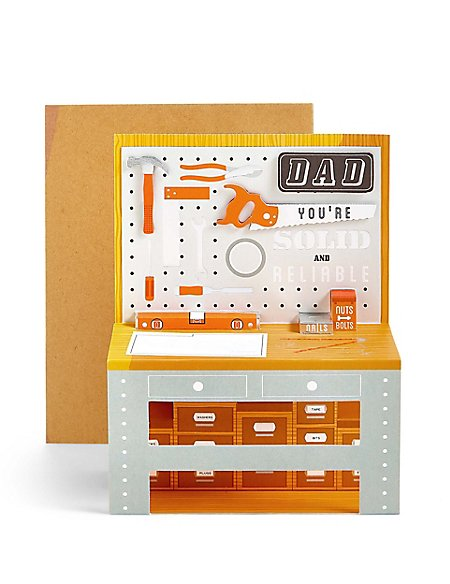 Pop-Up Tools Worktop Dad Birthday Card