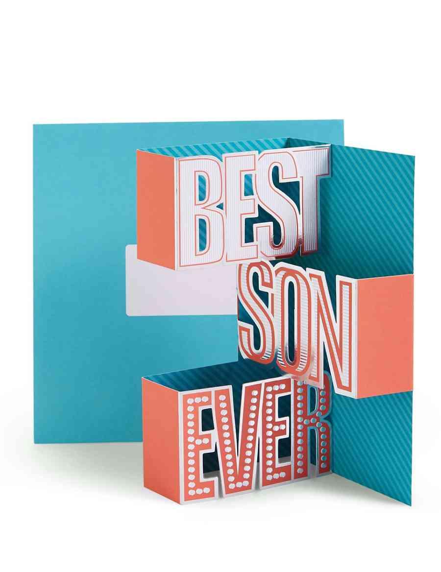 Pop Up Typography Best Son Ever Birthday Card