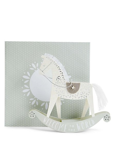 New Baby 3D Rocking Horse Card
