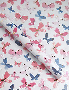 Watercolour Butterfly Pearlised 2 Metre Roll Wrapping Paper