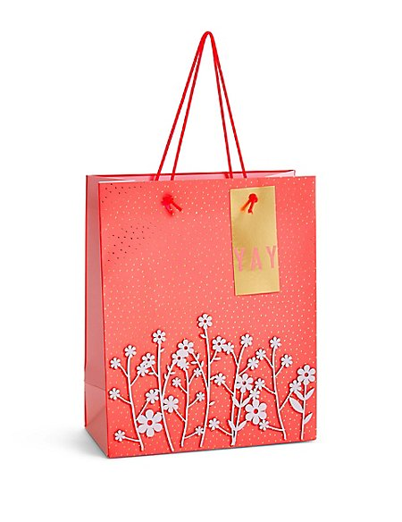 Laser Cut Flowers Medium Gift Bag