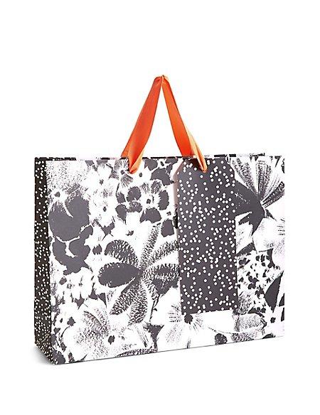 Black & White Floral Large Gift Bag