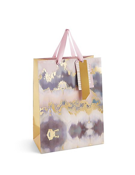 Abstract Texture Pink & Gold Large Gift Bag
