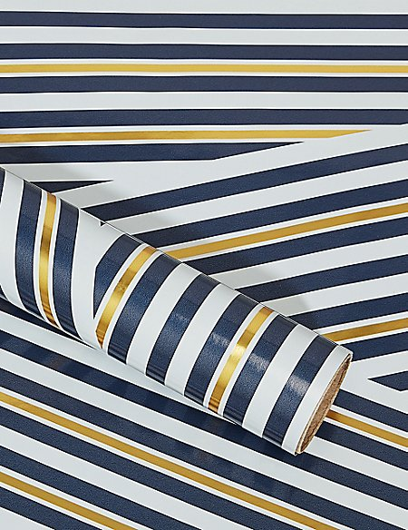 Blue & Gold Stripes 1.5 Meter Roll Wrapping Paper