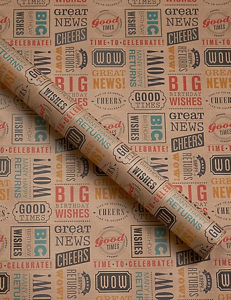 Birthday Typographic 2 Metre Roll Wrapping Paper