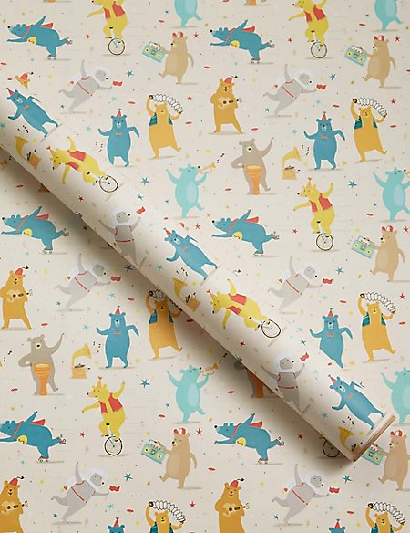 Bear Party 2 Metre Roll Wrapping Paper