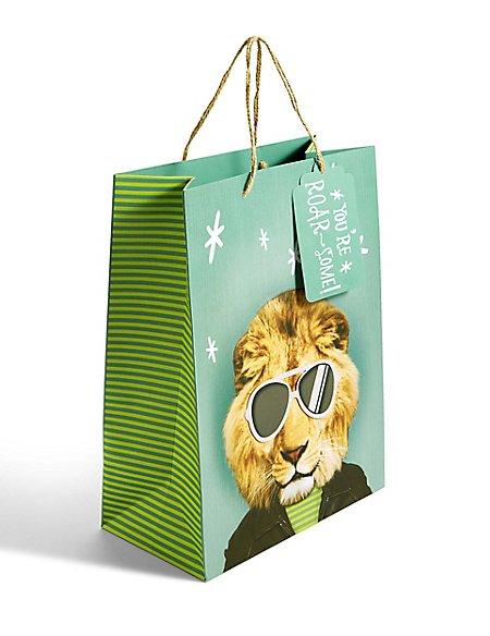 Lion Head & Sunglasses Large Gift Bag