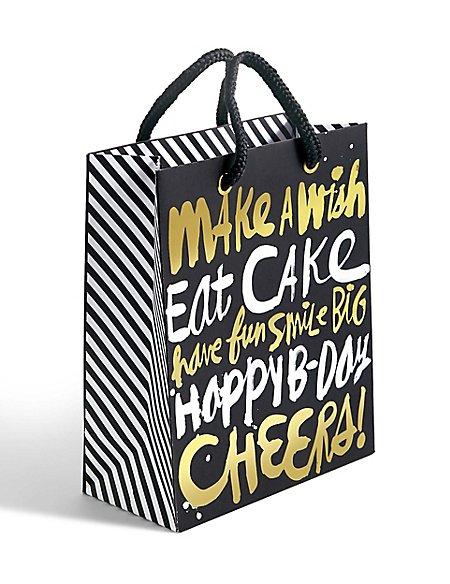 White & Gold Text Medium Gift Bag