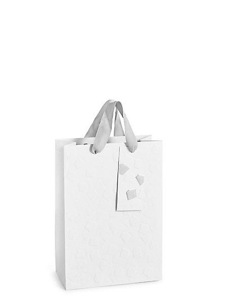 Embossed White Medium Gift Bag