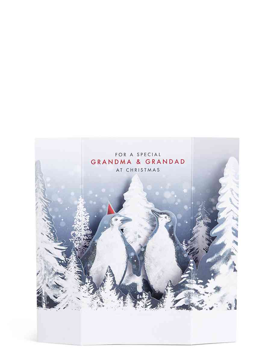 Grandma & Grandad 3D Penguin Winter Scene Christmas Card | M&S