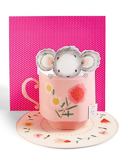 Pop-up Mouse in a Teacup Mother's Day Card