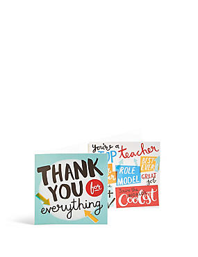 Set of 6 Typographic Thank You Teacher Card