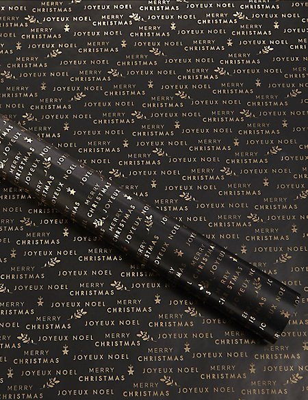 Black & Gold Text Christmas Wrapping Paper 3m