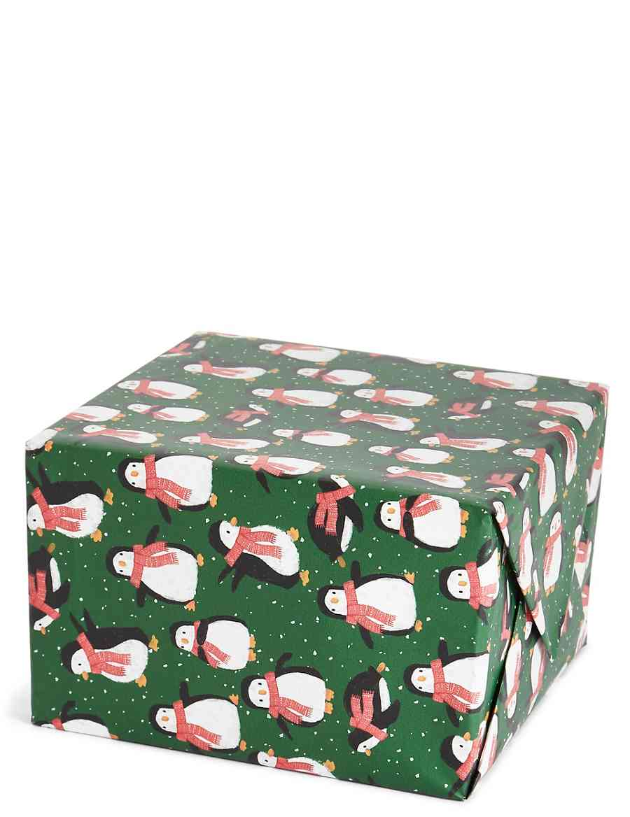 Penguins Jumbo Christmas Wrapping Paper 14m | M&S