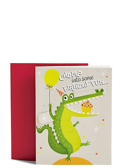 Pull-Tab Slider Crocodile Birthday Card