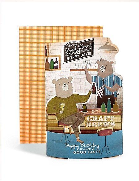 Pop-Up Bar Scene Hoppy Birthday Card