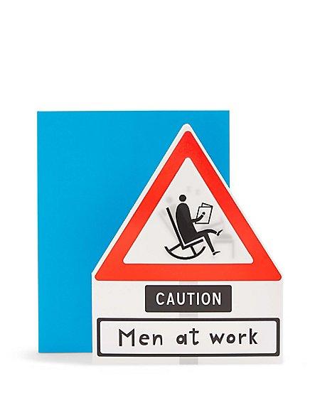 Lenticular Caution Men at Work Birthday Card