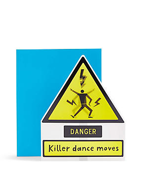 Lenticular Caution Killer Dance Moves Birthday Card