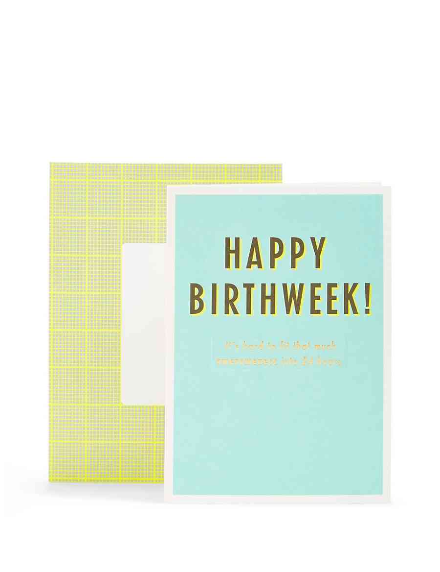 Typographic Happy Birth Week Birthday Card