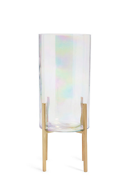 Lustre Footed Glass Hurricane Candle Holder