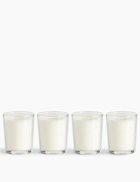 Set of 4 Glass Votive Candles