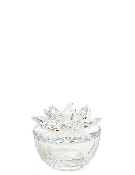 Cut Glass Flower Trinket Box