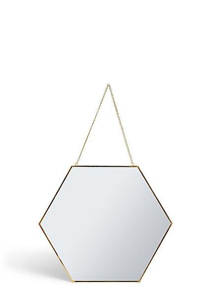 Hexagonal Hanging Mirror
