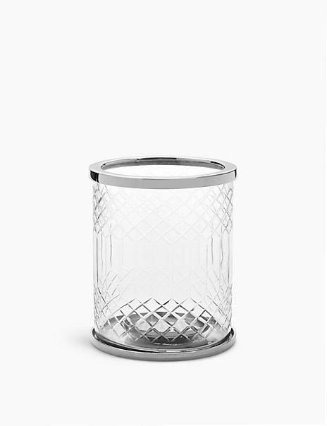 Cut Glass Hurricane Candle Holder