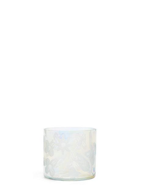 Lustre Etched Glass Tea Light Holder