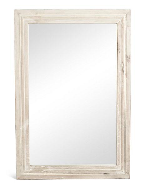 White Wash Rectangular Wooden Mirror