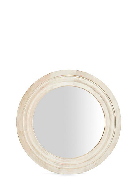 White Wash Round Wooden Mirror