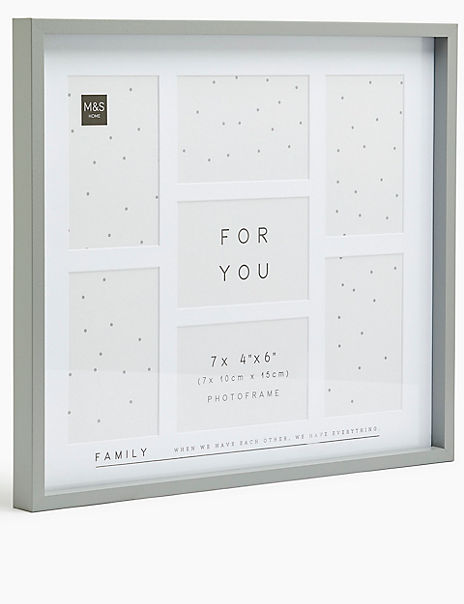 Wood 7 Aperture Family Photo Frame
