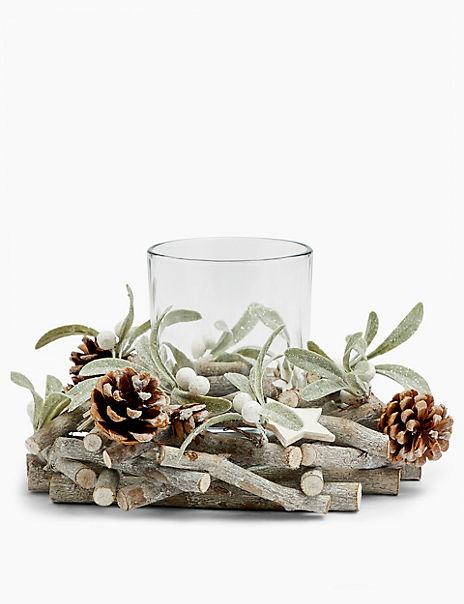 Glass Mistletoe Wreath Candle Holder