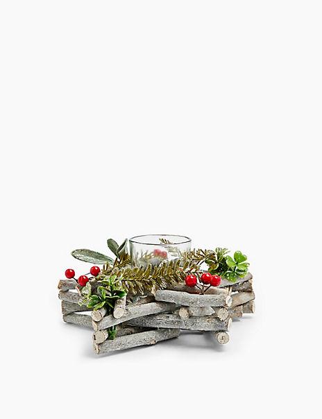 Glass Star Wreath Tea Light Holder