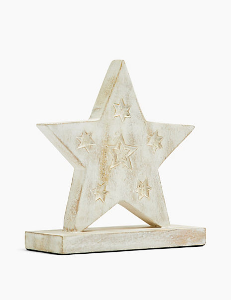 Wood Etched Star Ornament