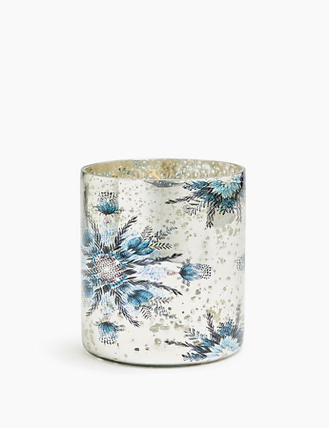 Glass Snowflake Print Candle Holder