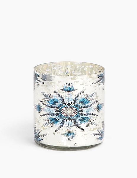 Glass Snowflake Tea Light Holder