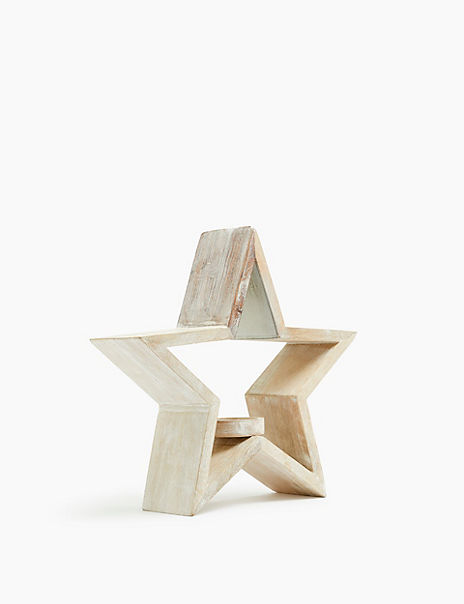 Wood Star Tea Light Holder