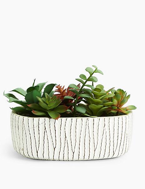 Artificial Succulent Garden In Oval Pot