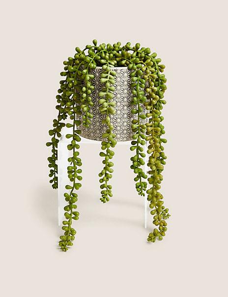 Artificial String of Pearls in Ceramic Pot