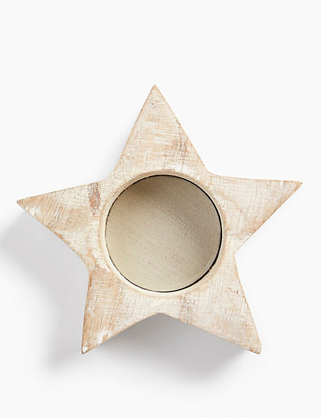 Small Wooden Star Tea Light Holder