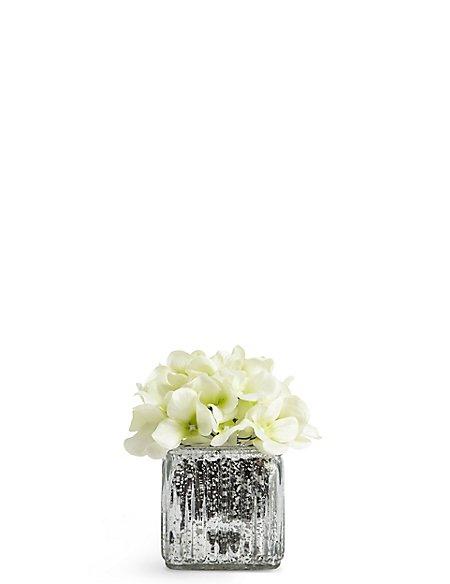 Lit Hydrangea in Mercury Cube Vase