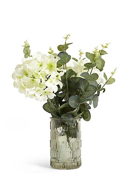 Lit Hydrangea Eucalyptus In Green Vase Ms