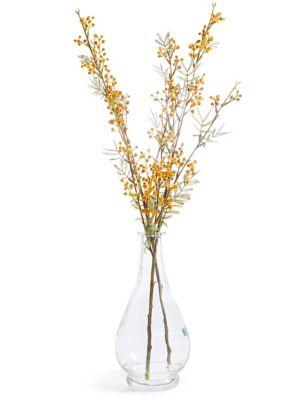 Mustard Mimosa in Clear Glass Bottle  sc 1 st  Marks \u0026 Spencer & Artificial Flowers | Silk Flowers| M\u0026S
