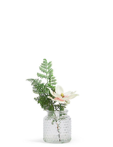Magnolia Fern in Pressed Glass Vase