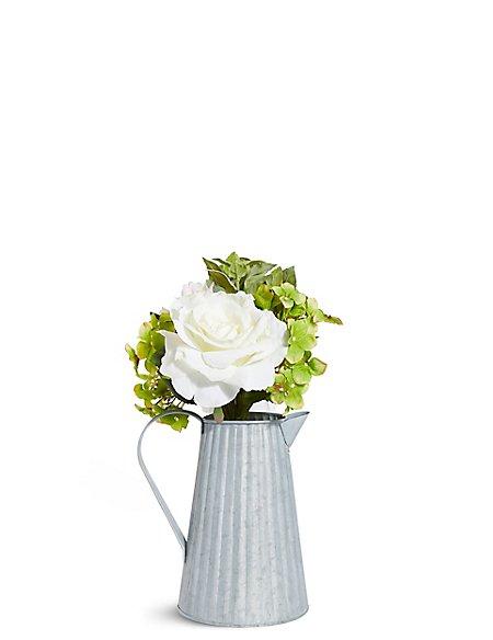 Rose & Hydrangea in Tin Jug
