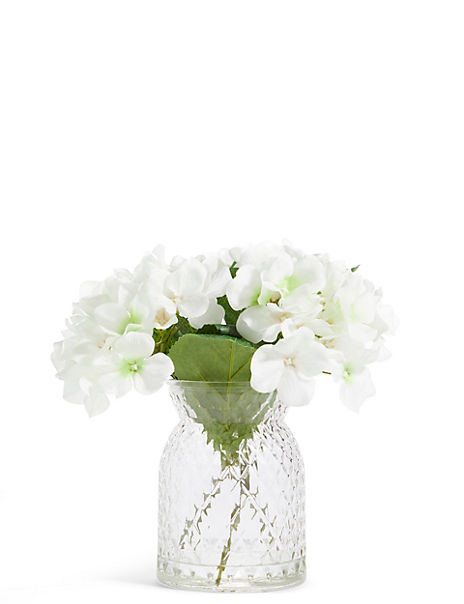 White Hydrangeas in Pressed Glass Vase